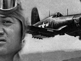 "A photo composite shows Marine fighter ace Gregory ""Pappy"" Boyington and a A Vought F4U Corsair.  Department of Defense photos/Task & Purpose photo illustration by Matt Battaglia"