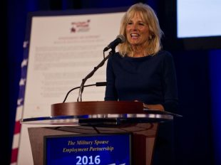 Dr. Jill Biden, wife of Vice President Joe Biden, speaks at a Department of Defense Military Spouse Employment Partnership event in Washington, D.C., Oct. 17. DoD photo by Lisa Ferdinando