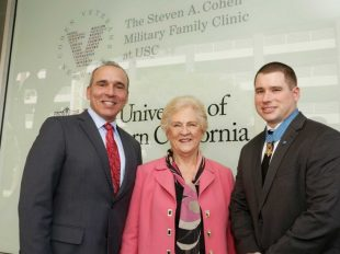 Anthony Hassan, Marilyn L. Flynn and Kyle White at the opening of the Steven A. Cohen Military Family Clinic (Photo/Steve Cohn)