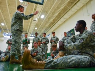 Army Cadet 2nd Lt. Jeremy Neff, left, gives instructions to his platoon during a training exercise at George Mason University on Sept. 29, 2016 in Fairfax, Va. Ricky Cariot/The Washington Post