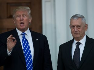President-elect Donald Trump speaks while standing with retired Marine Gen. James N. Mattis after their meeting at Trump International Golf Club on Saturday in Bedminster Township, N.J. (Photo by Drew Angerer/Getty Images)