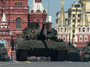 Armata tanks roll along Red Square in Moscow to mark the 71st anniversary of the Soviet Union's victory in the Second World War AFP/Getty Images