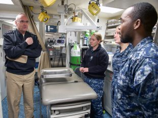 160418-N-FV745-046 NAVAL STATION ROTA, Spain (Apr. 18, 2016) – Vice Adm. Forrest Faison, surgeon general and chief of Bureau of Medicine and Surgery, speaks with Sailors assigned to the USS Ross (DDG 71) medical department as part of a tour of the ship. Ross is an Arleigh Burke-class guided-missile destroyer, forward-deployed to Rota, Spain. (U.S. Navy photo by Mass Communication Specialist 2nd Class Daniel James Lewis/Released)