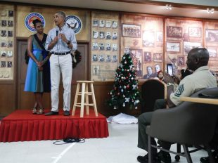President Barack Obama and first lady Michelle Obama at Marine Corps Base Hawaii, in Kaneohe Bay, Hawaii, Sunday, Dec. 25, 2016. Carolyn Kaster / AP