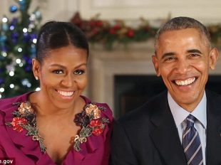 President Barack Obama (right) and First Lady Michelle Obama (left) recorded their final holiday message from the White House on Saturday  Read more: http://www.dailymail.co.uk/news/article-4064132/The-Obamas-honor-military-holiday-message-White-House-courage-allows-enjoy-season.html#ixzz4TskqJZht  Follow us: @MailOnline on Twitter | DailyMail on Facebook