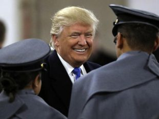 President-elect Donald Trump, center, greets Army Cadets before the Army-Navy college football game in Baltimore on Saturday, Dec. 10, 2016. (Patrick Semansky / AP)