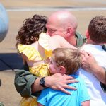 Cmdr. Marvin Scott reunites with his family after an eight-month deployment during a homecoming celebration at Naval Air Station Oceana on July 12, 2016. The Blue Star Families annual Military Family Lifestyle Survey released Dec. 7, 2016 found that family stability, time away from home and the impact on children have newly emerged as key stressors. Kayla King/U.S. Navy