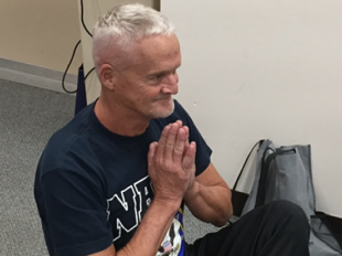 U.S. Navy veteran Larry Dodd says practicing yoga has already have positive effects on his health. Credit Jill Sheridan/Indiana Public Broadcasting