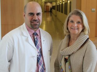 Veterans health course co-director Janet Hale, PhD, (right) is pictured with GSN alum, UMass Memorial Medical Center nurse practitioner and course instructor Michael Spiros, MS, NP. Both are military veterans.