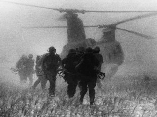 Marine helicopters ferrying troops to a landing zone in South Vietnam in 1967. Credit Rick Merron/Associated Press