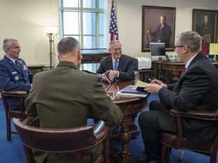 """New Defense Secretary James Mattis hosts his first """"Top 4"""" roundtable after arriving at the Pentagon in Washington, D.C. Also in attendance were Deputy Secretary of Defense Bob Work; U.S. Marine Corps Gen. Joseph Dunford, Chairman of the Joint Chiefs of Staff; and U.S. Air Force Gen. Paul Selva, Vice CJCS. DOD photo by Air Force Tech. Sgt. Brigitte N. Brantley"""