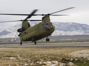 U.S. Army handout file photo shows a CH-47F Chinook helicopter landing at Camp Marmal in Mazar-e Sharif province Thomson Reuters