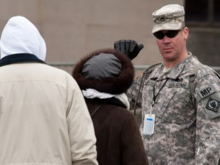Army Staff Sergeant Aaron Eaglebarger, a soldier with the 113th Military Police Company from the Mississippi National Guard, was one of the many National Guardsmen providing crowd control support at the Presidential Inauguration. The 57th Presidential Inauguration was held in Washington D.C. on Monday, January 21, 2013.