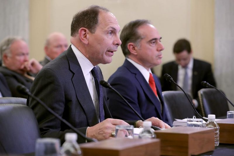 WASHINGTON, DC - SEPTEMBER 14: Veterans Affairs Secretary Robert McDonald (L) and VA Undersecretary for Health David Shulkin testify before the Senate Veterans' Affairs Committee in the Russell Senate Office Building on Capitol Hill September 14, 2016 in Washington, DC. (Photo by Chip Somodevilla/Getty Images)