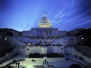 U.S. service members prepare for the 56th Presidential Inauguration rehearsal in Washington. More than 5,000 men and women in uniform are providing military ceremonial support to the presidential inauguration, a tradition dating back to George Washington's 1789 inauguration.