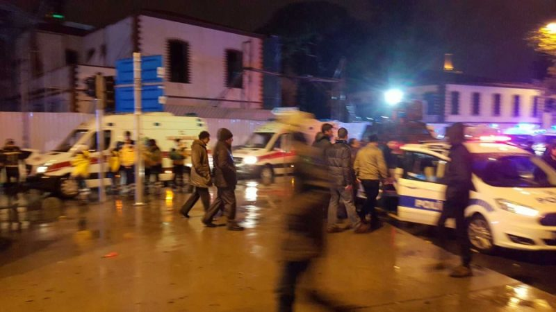 Ambulances and police vehicles are seen near the site of a terror attack at a nightclub in Istanbul, Turkey, on January 1, 2017. Thirty five people were killed and 40 others wounded at the popular nightclub early Sunday morning, Istanbul's governor said. He Canling, Xinhua, Sipa USA/TNS