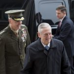 Secretary of Defense James Mattis greets Marine Gen. Joseph Dunford, chairman of the Joint Chiefs of Staff, after arriving at the Pentagon on Saturday. (Photo by Air Force Tech. Sgt. Brigitte N. Brantley/ Defense Department)