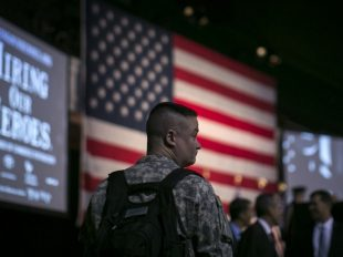 A soldier attends a job fair for veterans in New York. (Brendan McDermid/Reuters)