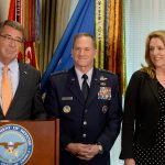 Secretary of Defense Ash Carter briefs the official announcement of Air Force Vice Chief of Staff Gen. David Goldfein, center, who was nominated to become the 21st Air Force chief of staff, in the Pentagon on April 29, 2016. With them is Secretary of the Air Force Deborah Lee James. (U.S. Air Force photo/Scott M. Ash) - See more at: http://www.rollcall.com/news/politics/air-forces-top-general-emphasizes-need-apolitical-military#sthash.iDrgQNJQ.dpuf