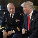 President Trump spoke as Army Lt. Gen. H.R. McMaster listened at Trump's Mar-a-Lago estate on Monday.