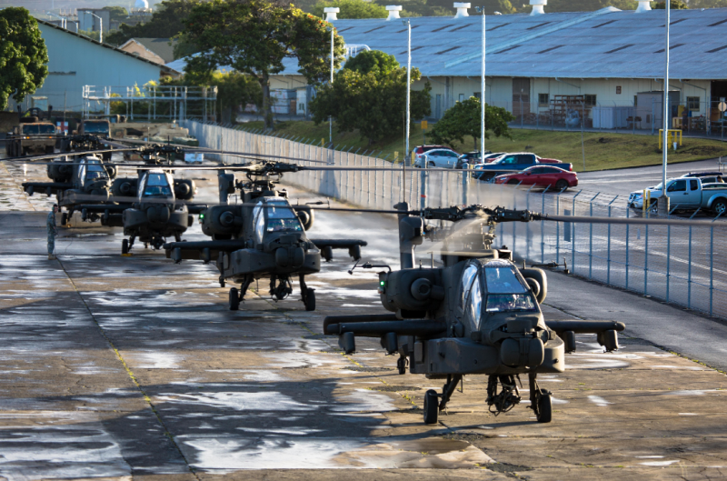 AH-64E Apache Guardians arrived at Wheeler Army Airfield. Sgt. Daniel K. Johnson, 25th Combat Aviation Brigade / US Army
