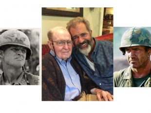 Lt. Gen. Hal Moore and actor Mel Gibson