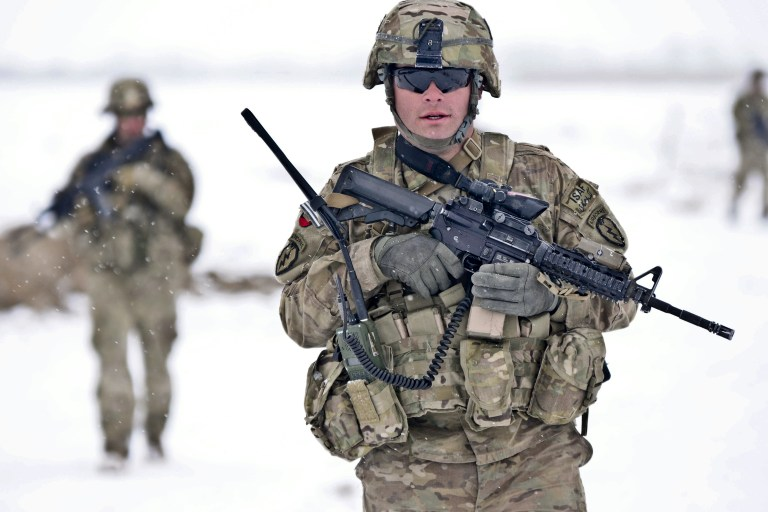 Spc. Robert Irwin, an infantryman of 2nd Platoon Dog Company, Task Force Gold Geronimo conducts a security patrol in the Paktya province, Jan. 30. TF Gold Geronimo is part of the Spartan Brigade.