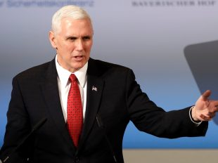 "U.S. Vice President Mike Pence speaks during the Munich Security Conference in Munich, Germany, on Saturday, Feb. 18, 2017. ""As you keep faith with us under President Trump, we will keep faith with you,"" Pence said. MATTHIAS SCHRADER/AP"