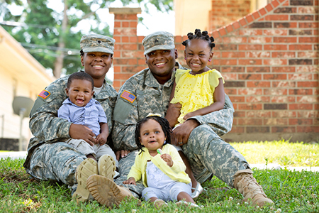 Stock image of a real dual military family. Natural light.