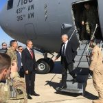 Defense Secretary James Mattis was greeted by U.S. Ambassador Douglas Silliman at Baghdad International Airport Monday. (Associated Press)