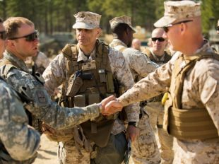 Marines and soldiers come together for the upcoming regimental exercise.