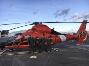 The crew of MH-65 Dolphin helicopter 6554 was honored in South Carolina for risky rescue. Photo: Coast Guard