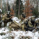 173rd Airborne Brigade paratroopers conduct a security halt during a foot patrol at the 7th Army Training Command's Grafenwoehr Training Area, Germany, Jan. 28, 2017. US Army Photo