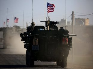 Convoy of US armoured vehicles drives near the village of Yalanli, on the western outskirts of the northern Syrian city of Manbij Convoy of US armoured vehicles drives near the village of Yalanli, on the western outskirts of the northern Syrian city of Manbij (AFP Photo/DELIL SOULEIMAN)