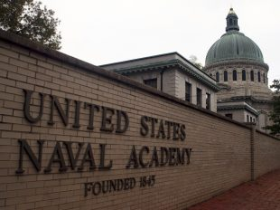 FILE - This May 10, 2007 file photo shows the U.S. Naval Academy in Annapolis, Md. Reports of sexual assaults increased at two of the three military academies last year and an anonymous survey suggests sexual misconduct rose across the board at the schools, The Associated Press has learned. Assault reports rose at the U.S. Naval Academy in Annapolis, Maryland, and the U.S. Military Academy at West Point, New York, while dropping at the U.S. Air Force Academy in Colorado. (AP Photo/Kathleen Lange, File)