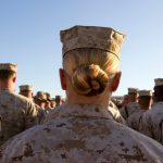 """One Marine says """"I didn't feel like I could openly be fully human"""" among her comrades. Paula Bronstein/Getty"""