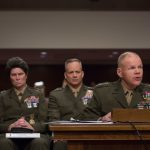 """General Robert Neller speaks during the Senate Armed Services Committee on the """"Marines United"""" nude photo scandal. Tasos Katopodis / AFP / Getty Images"""