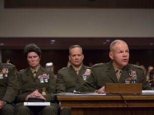 "General Robert Neller speaks during the Senate Armed Services Committee on the ""Marines United"" nude photo scandal. Tasos Katopodis / AFP / Getty Images"