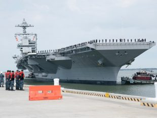 The aircraft carrier Pre-Commissioning Unit (PCU) USS Gerald R. Ford (CVN 78) arrives at Naval Station Norfolk after returning from builder's sea trials, April 14, 2017. Navy photo by Mass Communication Specialist 1st Class Christopher Lindahl