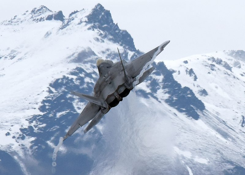 JOINT BASE ELMENDORF-RICHARDSON, Alaska – A U.S. Air Force F-22 Raptor departs the runway en route to the Joint Pacific Alaska Range Complex May 9, 2017, in support of Exercise Northern Edge 2017. Northern Edge is Alaska's largest and premier joint training exercise designed to practice operations, techniques and procedures, as well as enhance interoperability among the services. Thousands of participants from all the services—Airmen, Soldiers, Sailors, Marines and Coast Guard personnel from active duty, Reserve and National Guard units—are involved. (U.S. Air Force photo/Master Sgt. John Gordinier)