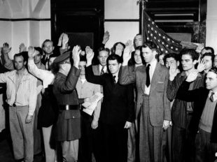 "March 22, 1941: Actor James ""Jimmy"" Stewart, third from right in front row, being sworn into the U.S. Army. (Los Angeles Times)"