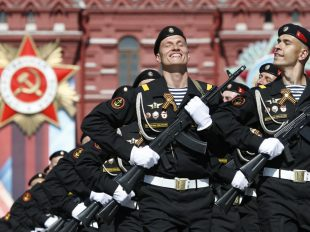 Russian servicemen march during the Victory Day parade, marking the 71st anniversary of the victory over Nazi Germany in World War II, at Red Square in Moscow, May 9.