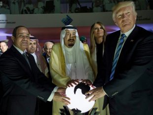 Egyptian President Abdel Fattah al-Sissi, left, Saudi King Salman, center, and President Donald Trump at the Global Center for Combating Extremist Ideology, in Riyadh, Saudi Arabia.