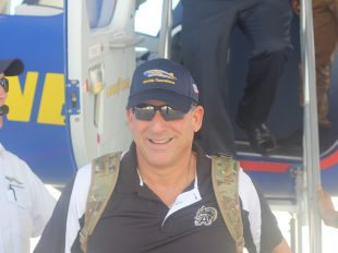 Army veteran, Rob Vicci, after his trip on the Goodyear Blimp